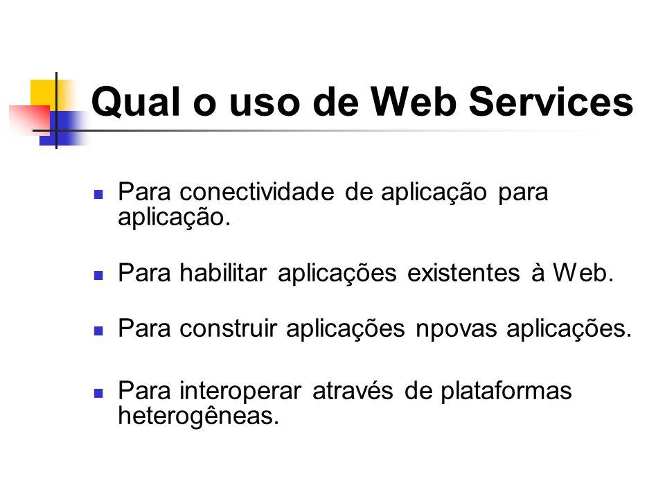 Qual o uso de Web Services Para conectividade de aplicação para aplicação. Para habilitar aplicações existentes à Web. Para construir aplicações npova