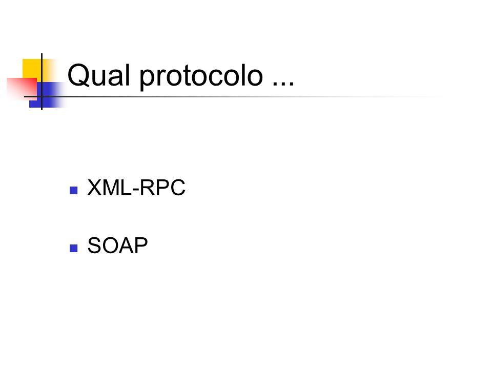 Qual protocolo... XML-RPC SOAP