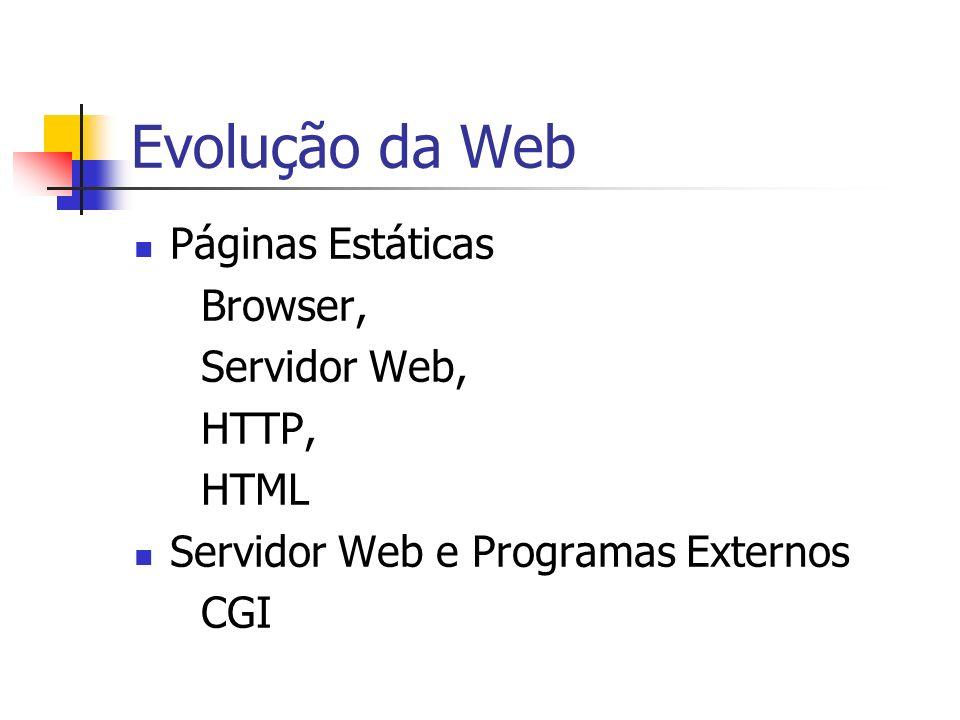 Evolução da Web Páginas Dinâmicas Browser, Servidor Web, HTTP, HTTPS HTML,...
