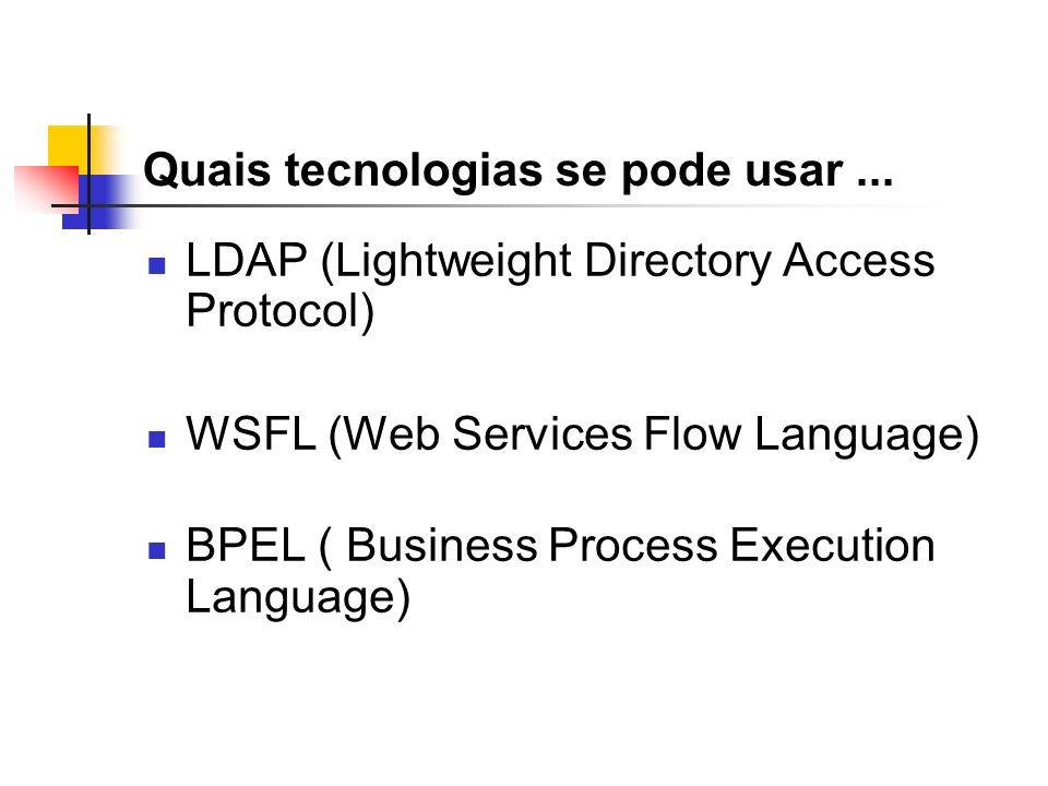 Quais tecnologias se pode usar... LDAP (Lightweight Directory Access Protocol) WSFL (Web Services Flow Language) BPEL ( Business Process Execution Lan