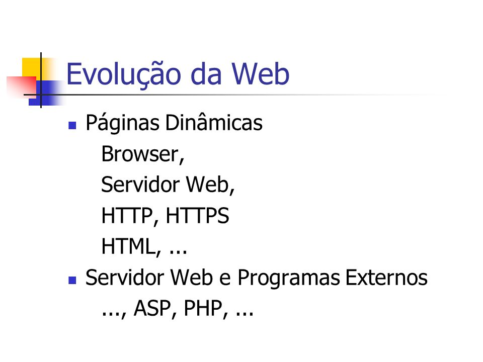 Evolução da Web Object Web Tecnologias Java (Servlets, JSP) Linguagens para scripts: JavaScript, PERL, PYTHON