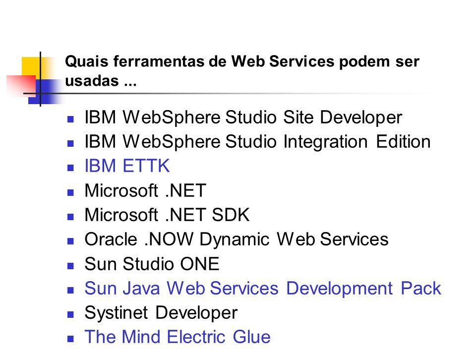 Quais ferramentas de Web Services podem ser usadas... IBM WebSphere Studio Site Developer IBM WebSphere Studio Integration Edition IBM ETTK Microsoft.