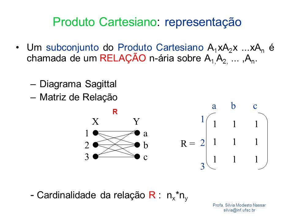 Profa. Silvia Modesto Nassar silvia@inf.ufsc.br Produto Cartesiano: representação Um subconjunto do Produto Cartesiano A 1 xA 2 x...xA n é chamada de