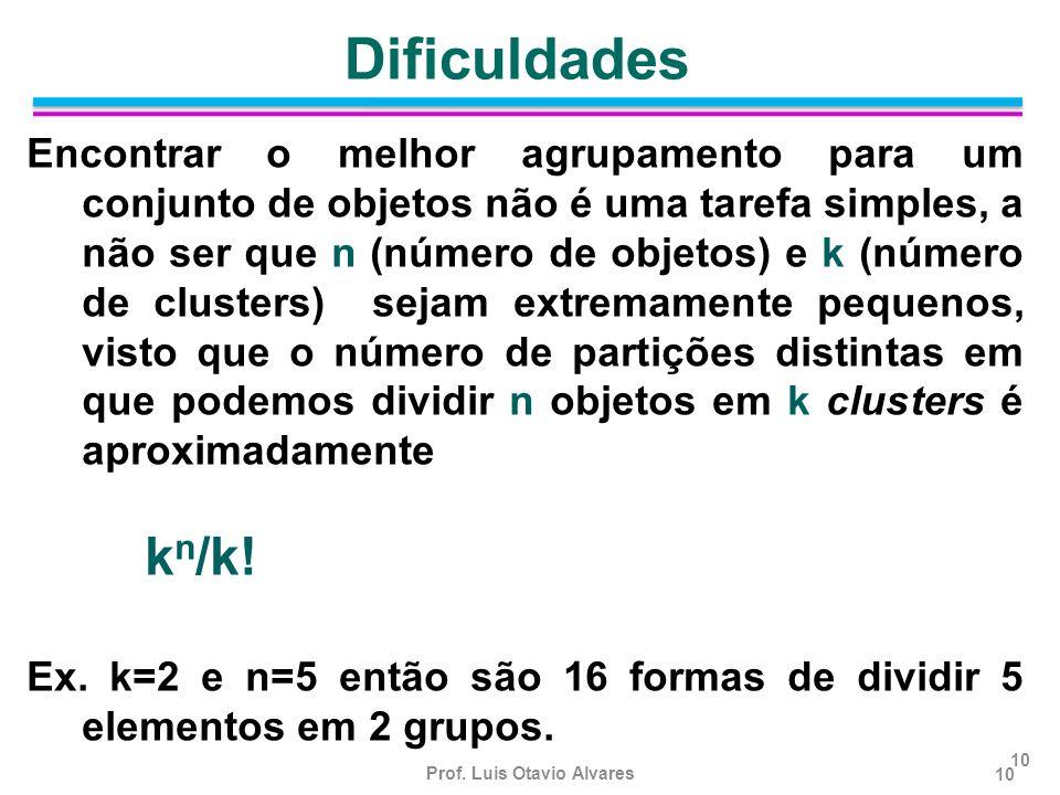 Prof. Luis Otavio Alvares 10 Encontrar o melhor agrupamento para um conjunto de objetos não é uma tarefa simples, a não ser que n (número de objetos)
