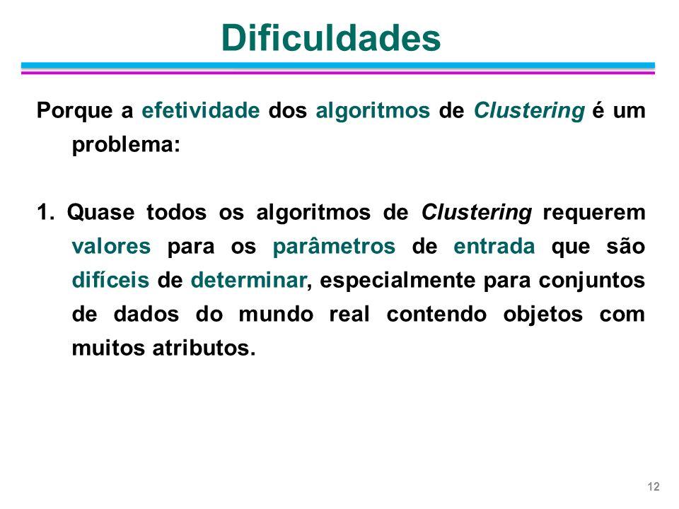 Porque a efetividade dos algoritmos de Clustering é um problema: 1. Quase todos os algoritmos de Clustering requerem valores para os parâmetros de ent