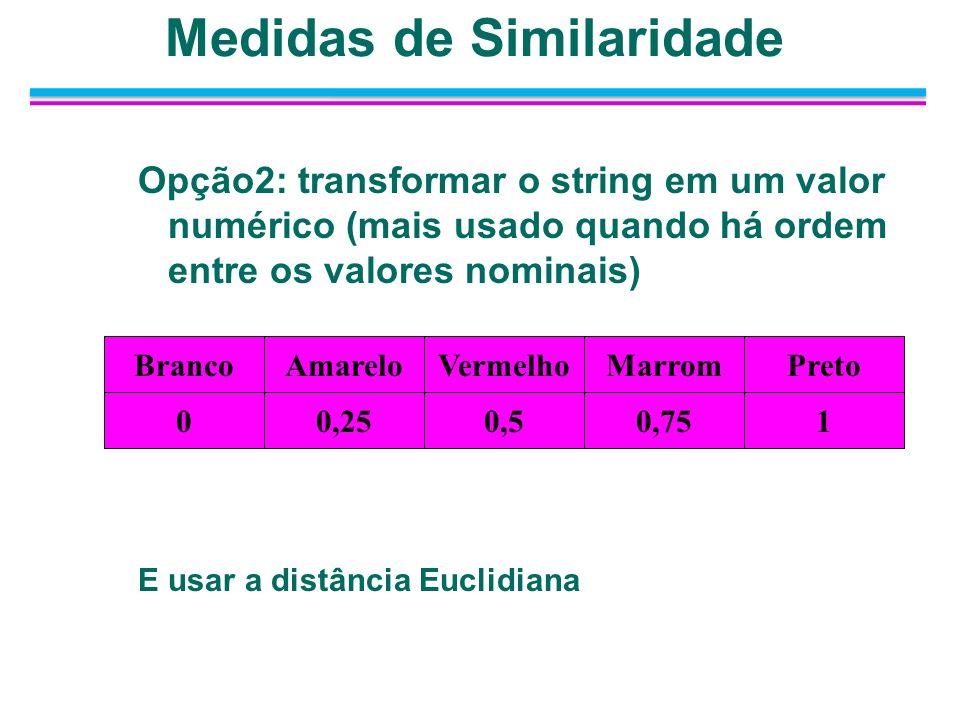 Opção2: transformar o string em um valor numérico (mais usado quando há ordem entre os valores nominais) E usar a distância Euclidiana VermelhoPretoMa