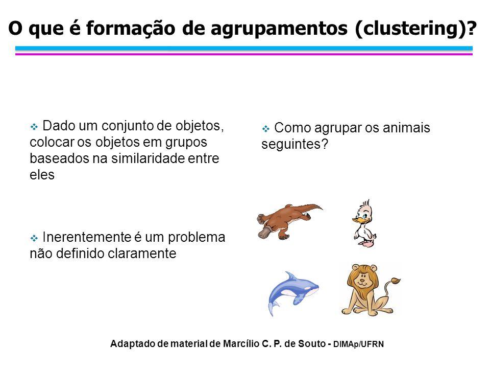 Dado um conjunto de objetos, colocar os objetos em grupos baseados na similaridade entre eles Inerentemente é um problema não definido claramente Como