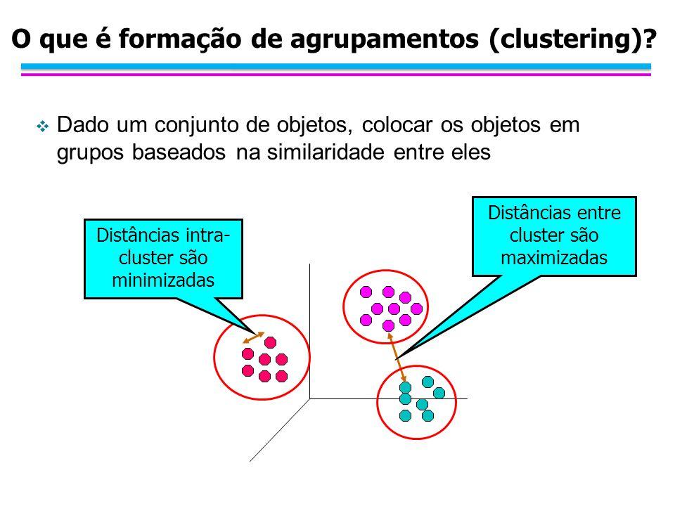 O que é formação de agrupamentos (clustering)? Dado um conjunto de objetos, colocar os objetos em grupos baseados na similaridade entre eles Distância