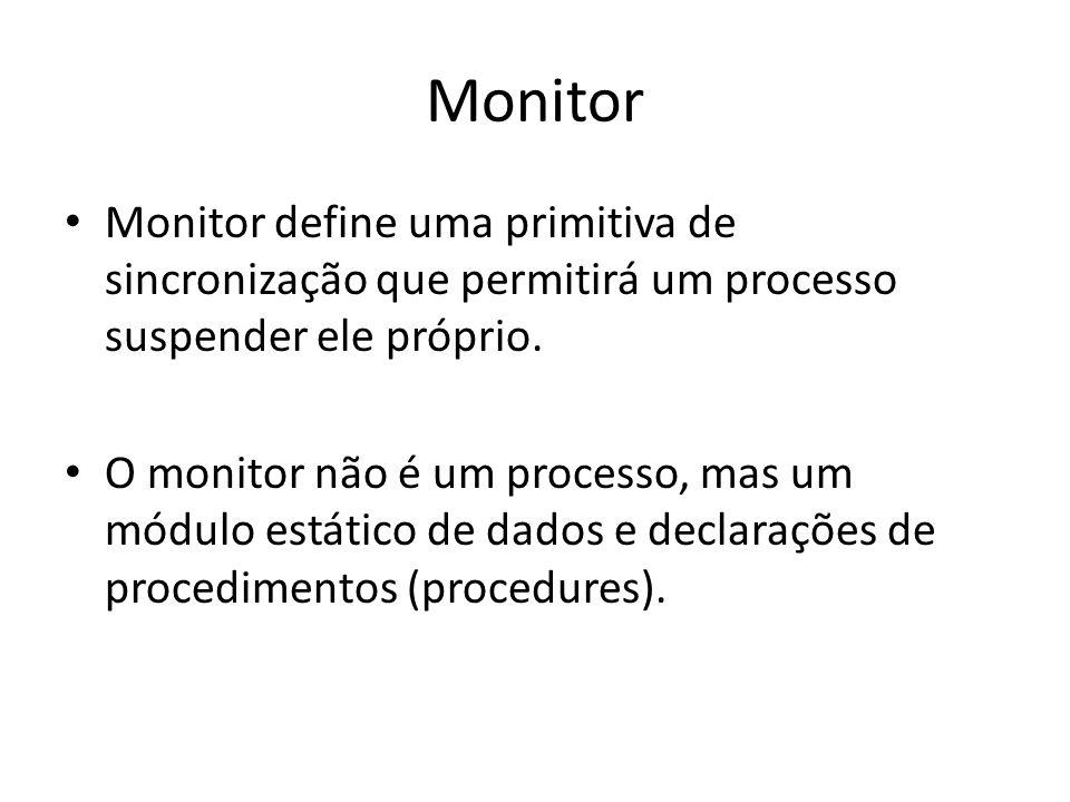 Monitor Monitor define uma primitiva de sincronização que permitirá um processo suspender ele próprio. O monitor não é um processo, mas um módulo está