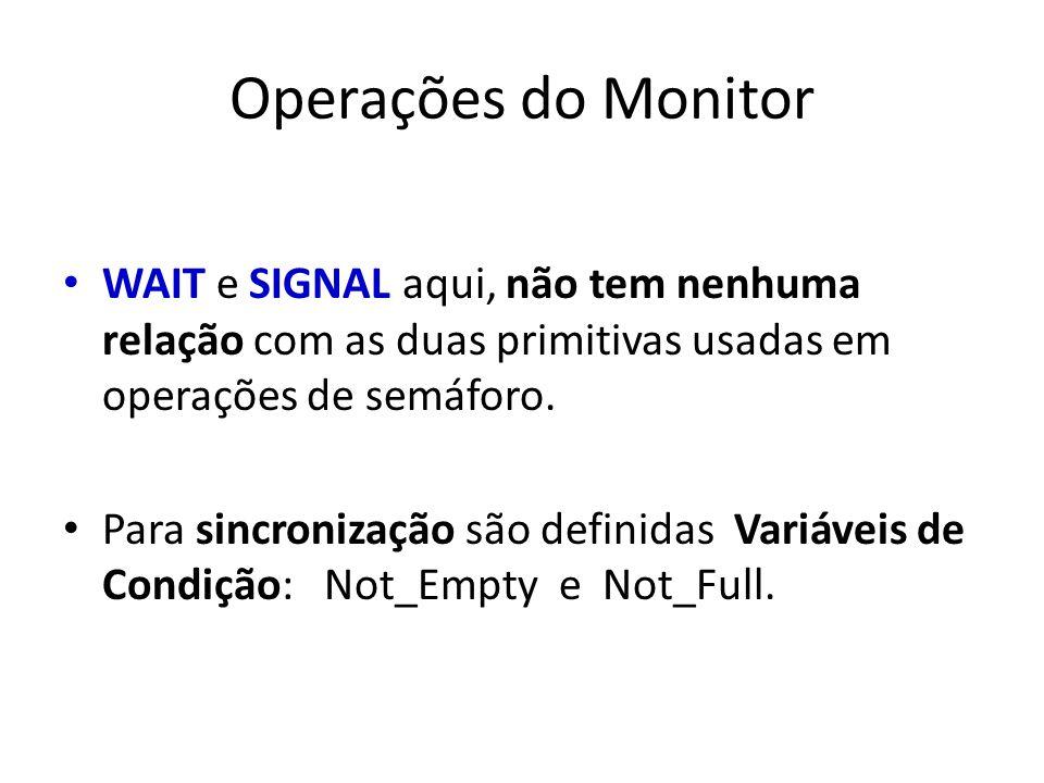 Operações do Monitor WAIT e SIGNAL aqui, não tem nenhuma relação com as duas primitivas usadas em operações de semáforo. Para sincronização são defini