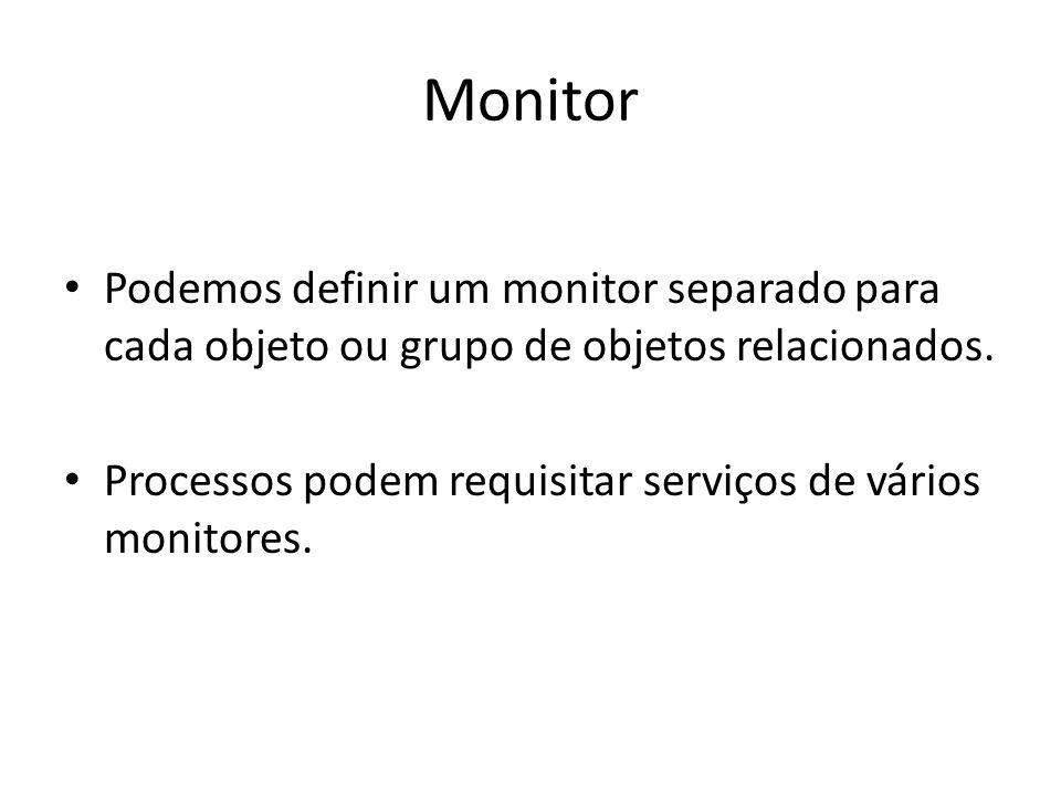 Monitor Podemos definir um monitor separado para cada objeto ou grupo de objetos relacionados. Processos podem requisitar serviços de vários monitores