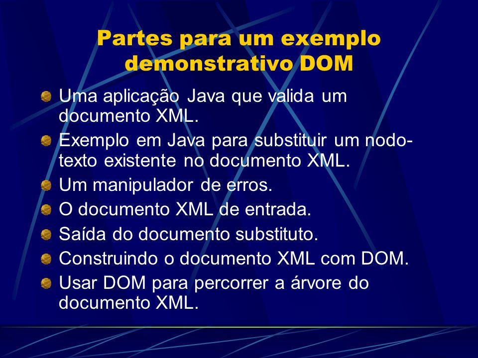 Partes para um exemplo demonstrativo DOM Uma aplicação Java que valida um documento XML. Exemplo em Java para substituir um nodo- texto existente no d