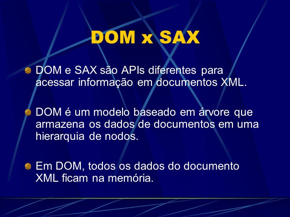 DOM x SAX DOM e SAX são APIs diferentes para acessar informação em documentos XML. DOM é um modelo baseado em árvore que armazena os dados de document