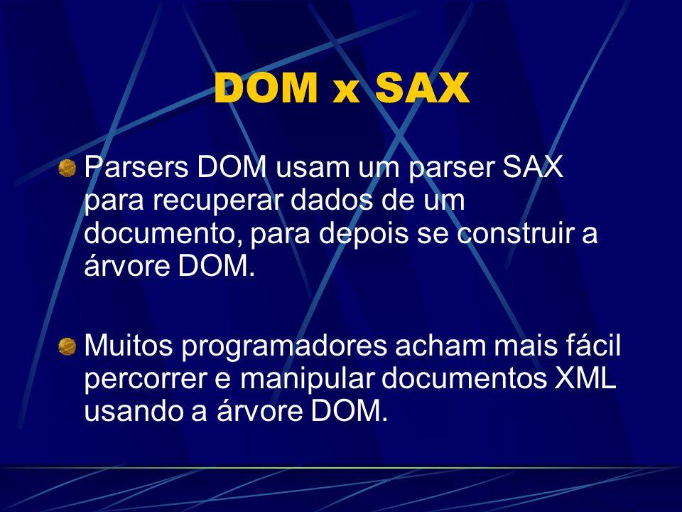 DOM x SAX Parsers DOM usam um parser SAX para recuperar dados de um documento, para depois se construir a árvore DOM. Muitos programadores acham mais
