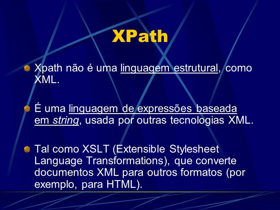 XPath Xpath não é uma linguagem estrutural, como XML. É uma linguagem de expressões baseada em string, usada por outras tecnologias XML. Tal como XSLT