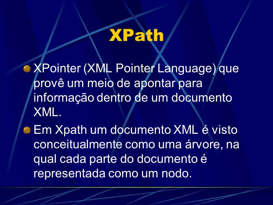 XPath XPointer (XML Pointer Language) que provê um meio de apontar para informação dentro de um documento XML. Em Xpath um documento XML é visto conce