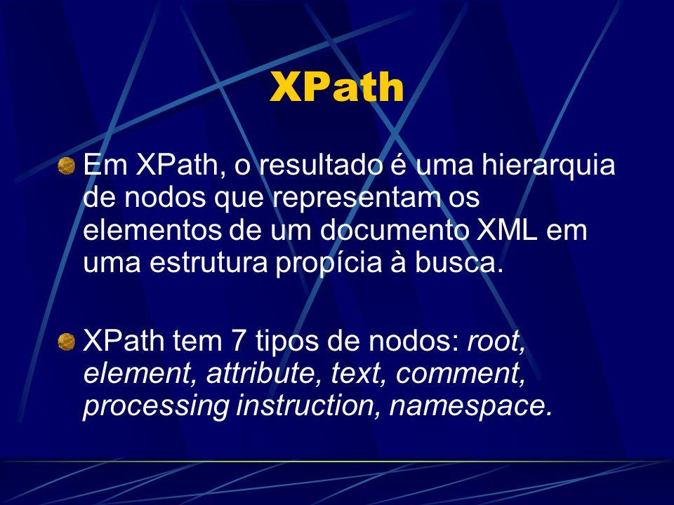 XPath Em XPath, o resultado é uma hierarquia de nodos que representam os elementos de um documento XML em uma estrutura propícia à busca. XPath tem 7