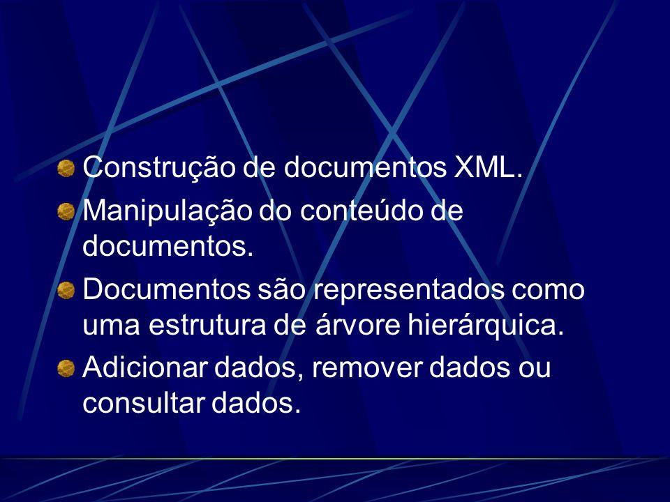 Construção de documentos XML. Manipulação do conteúdo de documentos. Documentos são representados como uma estrutura de árvore hierárquica. Adicionar
