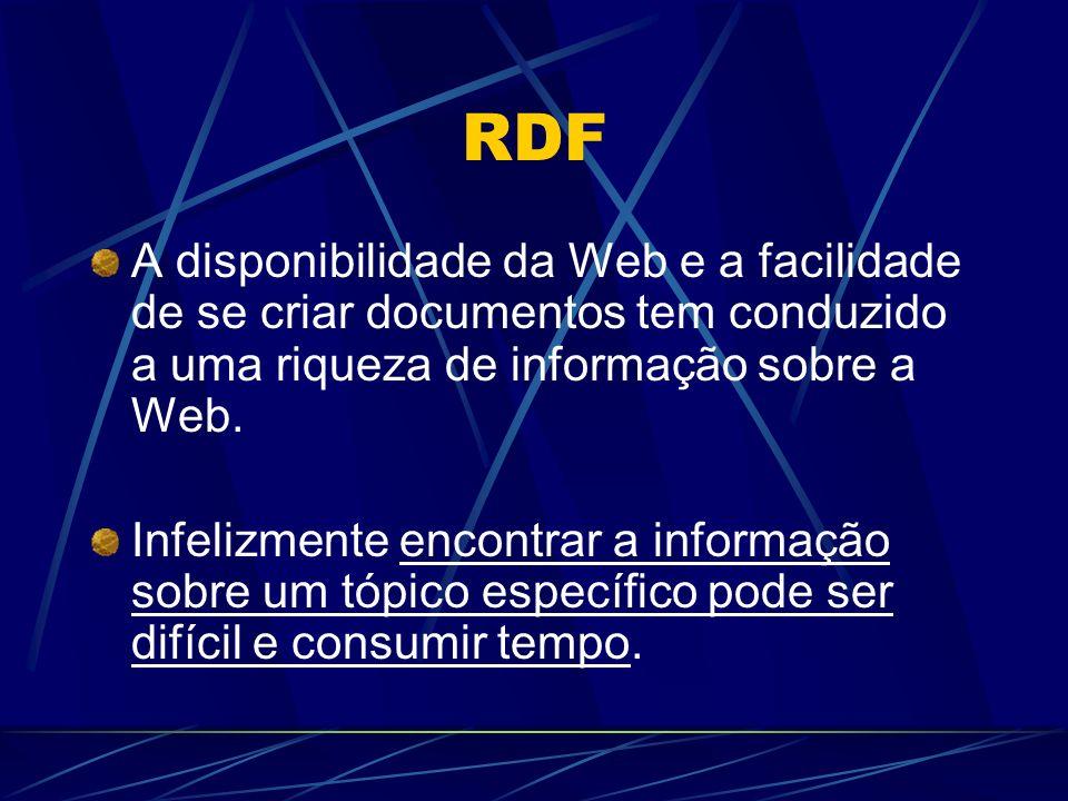 RDF A disponibilidade da Web e a facilidade de se criar documentos tem conduzido a uma riqueza de informação sobre a Web. Infelizmente encontrar a inf