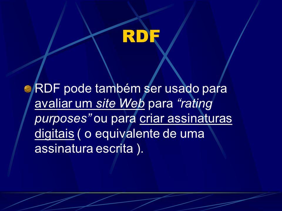 RDF RDF pode também ser usado para avaliar um site Web para rating purposes ou para criar assinaturas digitais ( o equivalente de uma assinatura escri