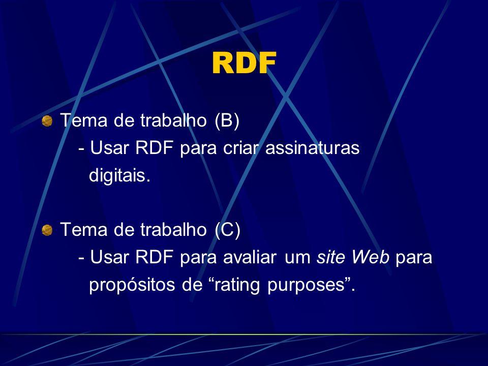 RDF Tema de trabalho (B) - Usar RDF para criar assinaturas digitais. Tema de trabalho (C) - Usar RDF para avaliar um site Web para propósitos de ratin