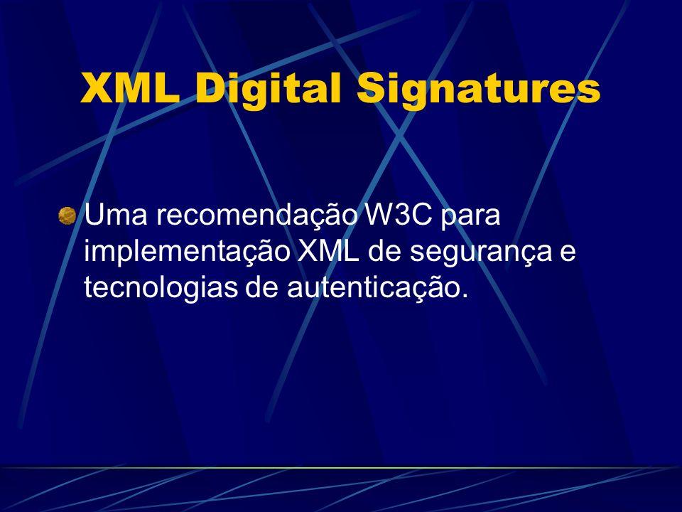 Uma recomendação W3C para implementação XML de segurança e tecnologias de autenticação.