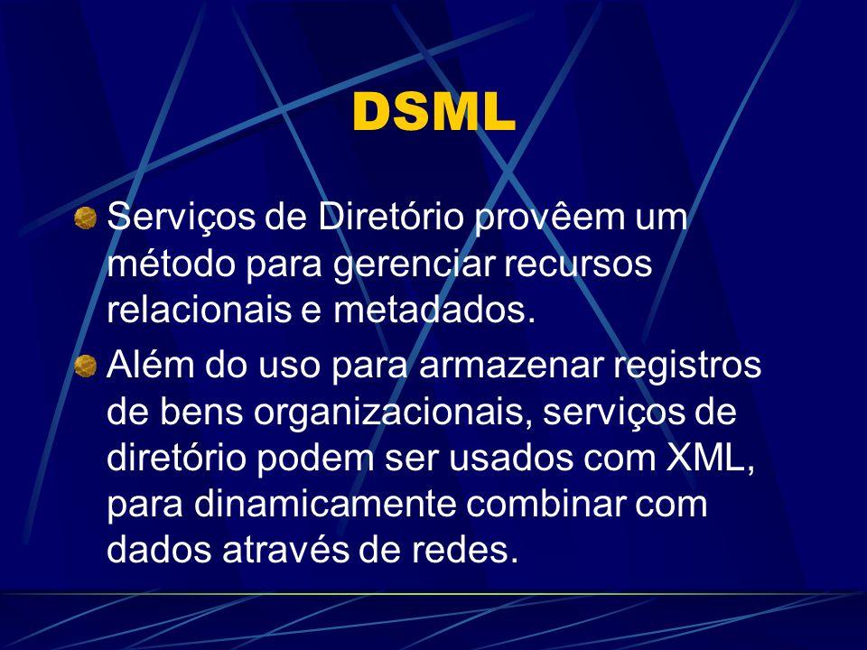 DSML Serviços de Diretório provêem um método para gerenciar recursos relacionais e metadados. Além do uso para armazenar registros de bens organizacio