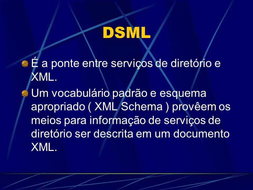 DSML É a ponte entre serviços de diretório e XML. Um vocabulário padrão e esquema apropriado ( XML Schema ) provêem os meios para informação de serviç