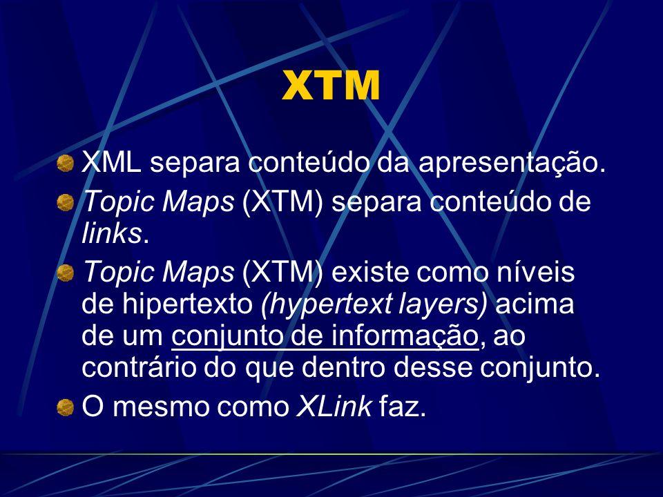 XTM XML separa conteúdo da apresentação. Topic Maps (XTM) separa conteúdo de links. Topic Maps (XTM) existe como níveis de hipertexto (hypertext layer