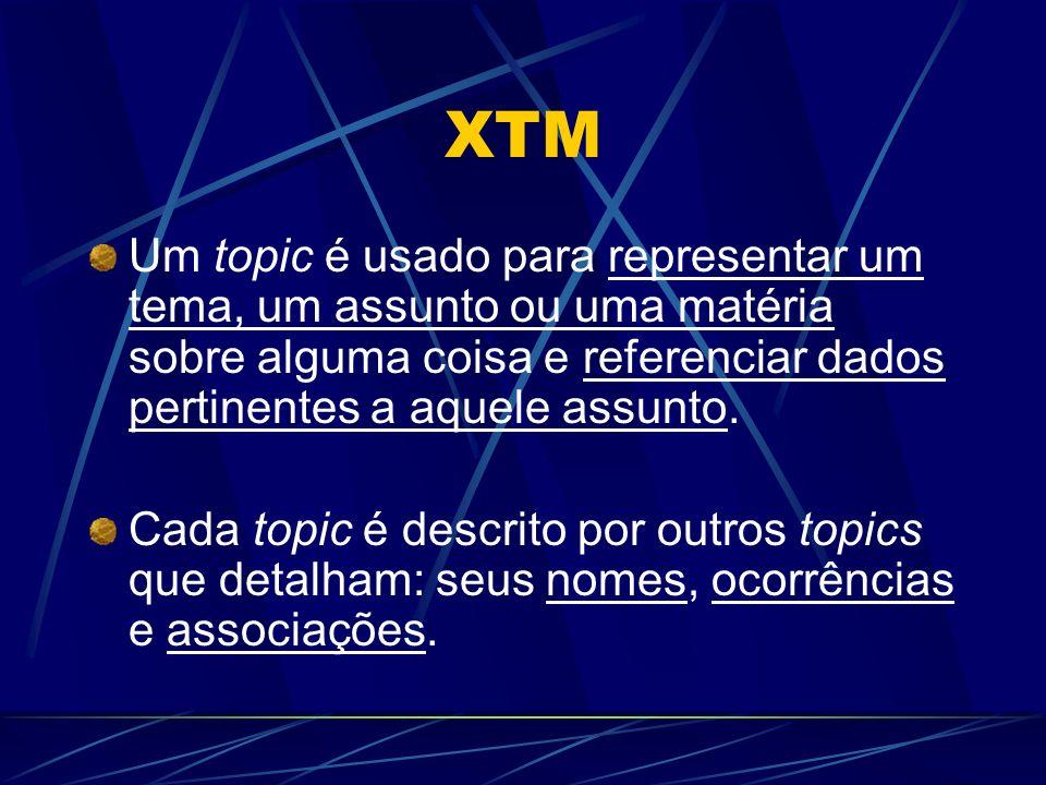 XTM Um topic é usado para representar um tema, um assunto ou uma matéria sobre alguma coisa e referenciar dados pertinentes a aquele assunto. Cada top