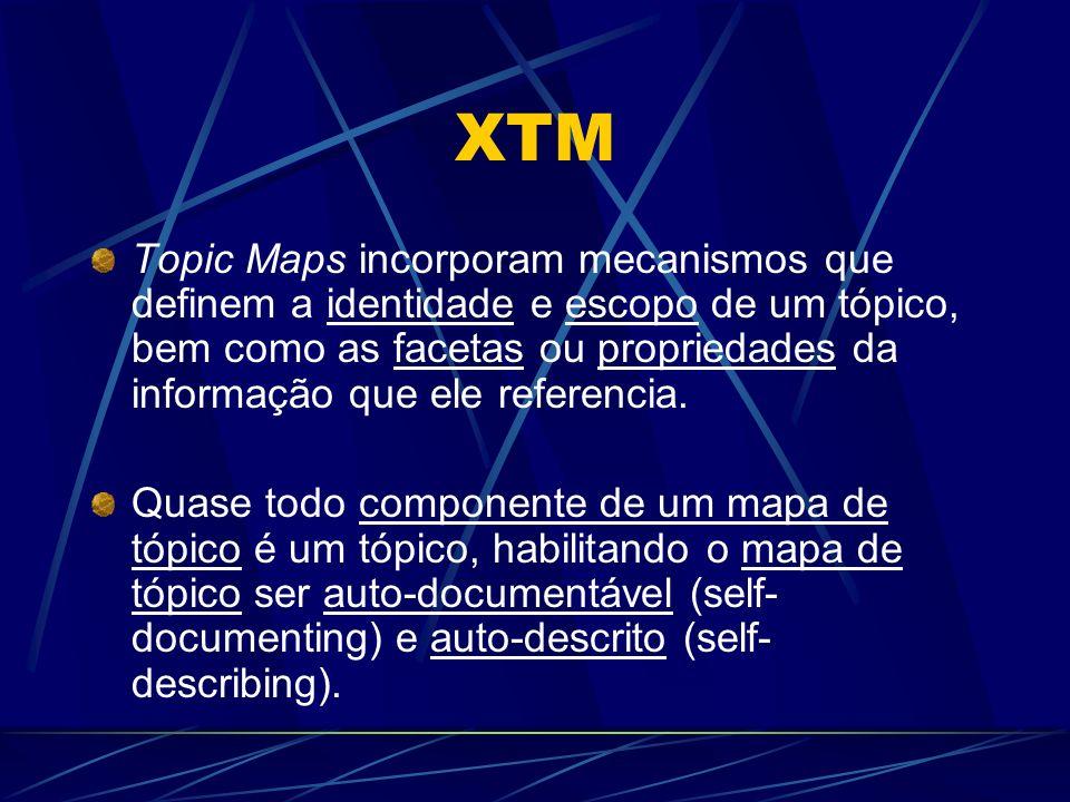 XTM Topic Maps incorporam mecanismos que definem a identidade e escopo de um tópico, bem como as facetas ou propriedades da informação que ele referen