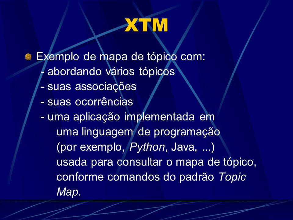 XTM Exemplo de mapa de tópico com: - abordando vários tópicos - suas associações - suas ocorrências - uma aplicação implementada em uma linguagem de programação (por exemplo, Python, Java,...) usada para consultar o mapa de tópico, conforme comandos do padrão Topic Map.