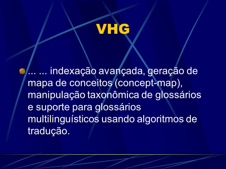VHG...... indexação avançada, geração de mapa de conceitos (concept-map), manipulação taxonômica de glossários e suporte para glossários multilinguíst
