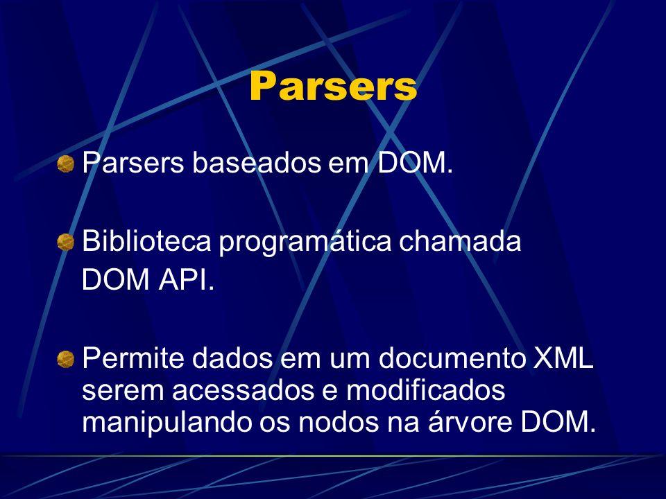 Parsers Parsers baseados em DOM. Biblioteca programática chamada DOM API. Permite dados em um documento XML serem acessados e modificados manipulando