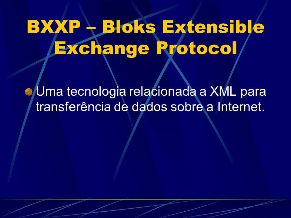 BXXP – Bloks Extensible Exchange Protocol Uma tecnologia relacionada a XML para transferência de dados sobre a Internet.