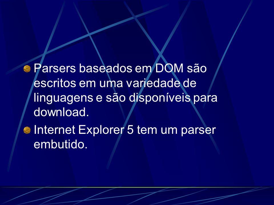 Parsers DOM JAXP – Sun Microsystems, Java API for XML Parsing, www.java.sun.com/xmlwww.java.sun.com/xml XML4J – IBMs XML Parser for Java, www.alphaworks.ibm.com/tech/xml4j Xerces – Apaches Xerces Java Parser www.xml.apache.org/xerces.
