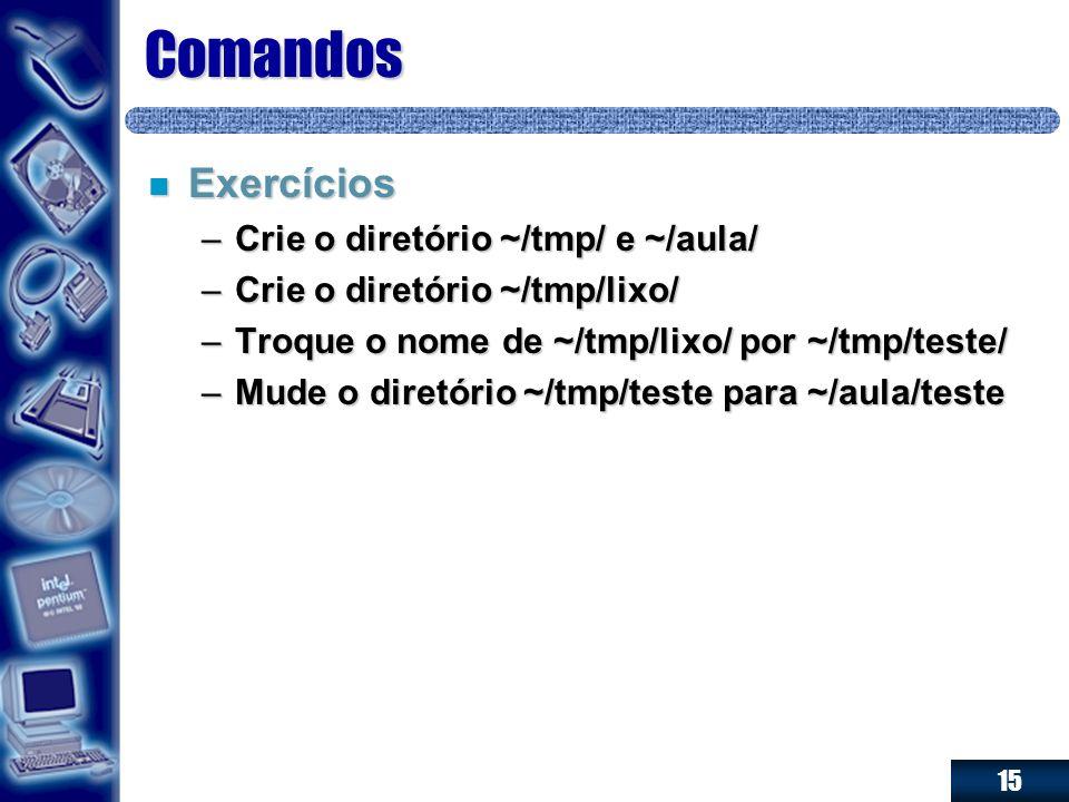 15 Comandos n Exercícios –Crie o diretório ~/tmp/ e ~/aula/ –Crie o diretório ~/tmp/lixo/ –Troque o nome de ~/tmp/lixo/ por ~/tmp/teste/ –Mude o diret