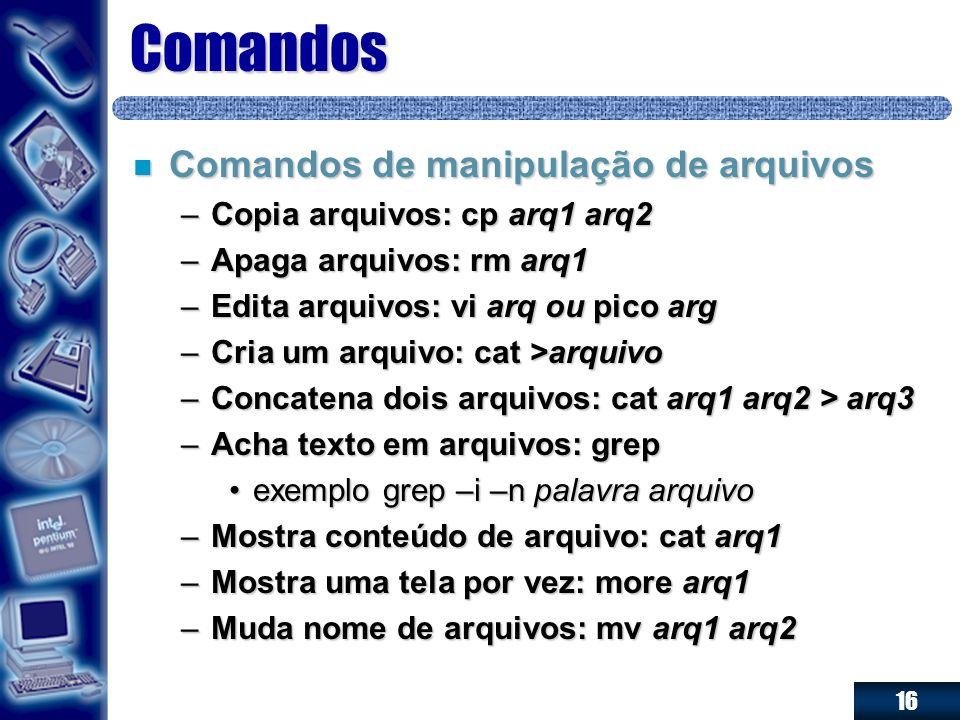 16 Comandos n Comandos de manipulação de arquivos –Copia arquivos: cp arq1 arq2 –Apaga arquivos: rm arq1 –Edita arquivos: vi arq ou pico arg –Cria um