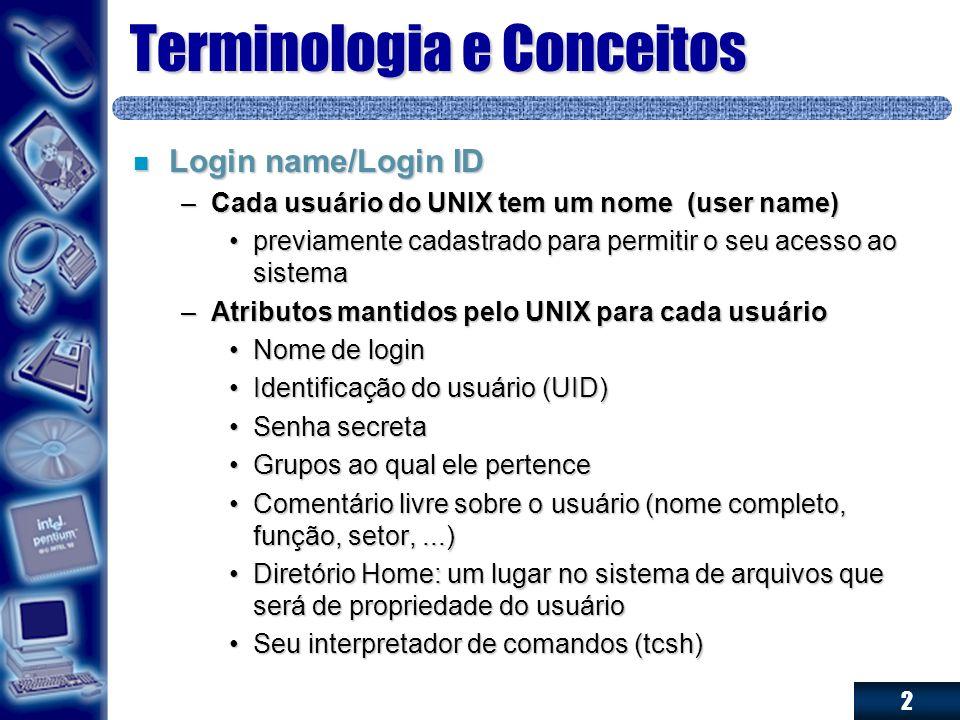 2 Terminologia e Conceitos n Login name/Login ID –Cada usuário do UNIX tem um nome (user name) previamente cadastrado para permitir o seu acesso ao si