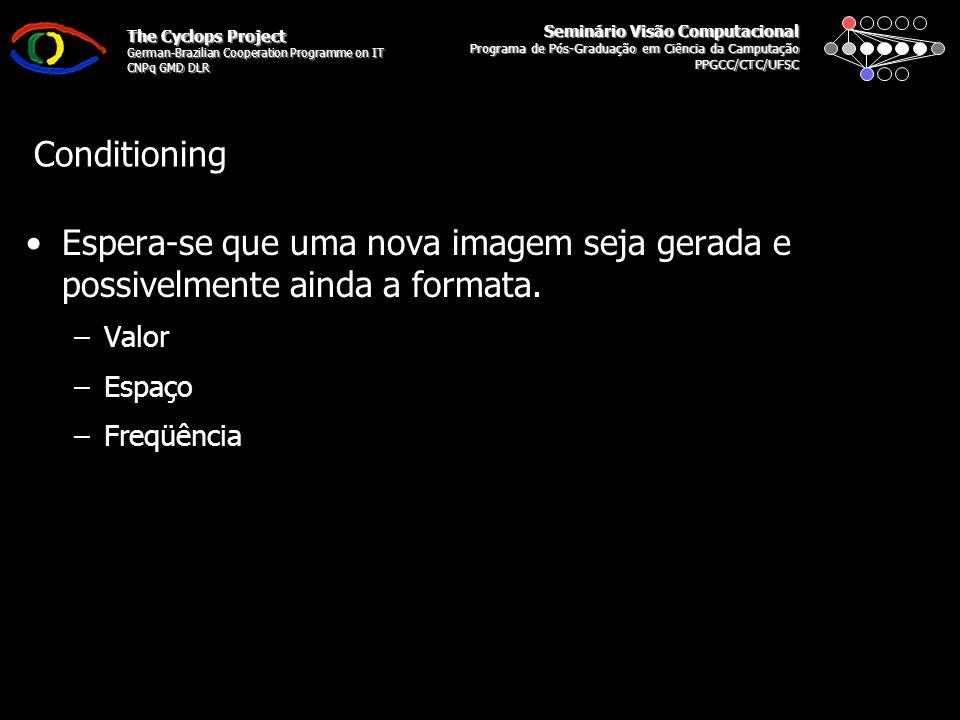 Seminário Visão Computacional Programa de Pós-Graduação em Ciência da Camputação PPGCC/CTC/UFSC The Cyclops Project German-Brazilian Cooperation Programme on IT CNPq GMD DLR Filtering and Processing Não são esperadas modificações profundas nas imagens, elas são apenas atenuadas ou melhoradas –Valor –Espaço –Frequência