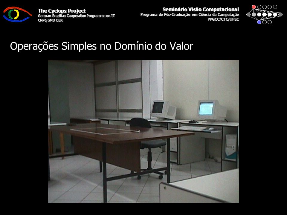 Seminário Visão Computacional Programa de Pós-Graduação em Ciência da Camputação PPGCC/CTC/UFSC The Cyclops Project German-Brazilian Cooperation Programme on IT CNPq GMD DLR Operações Simples no Domínio do Valor