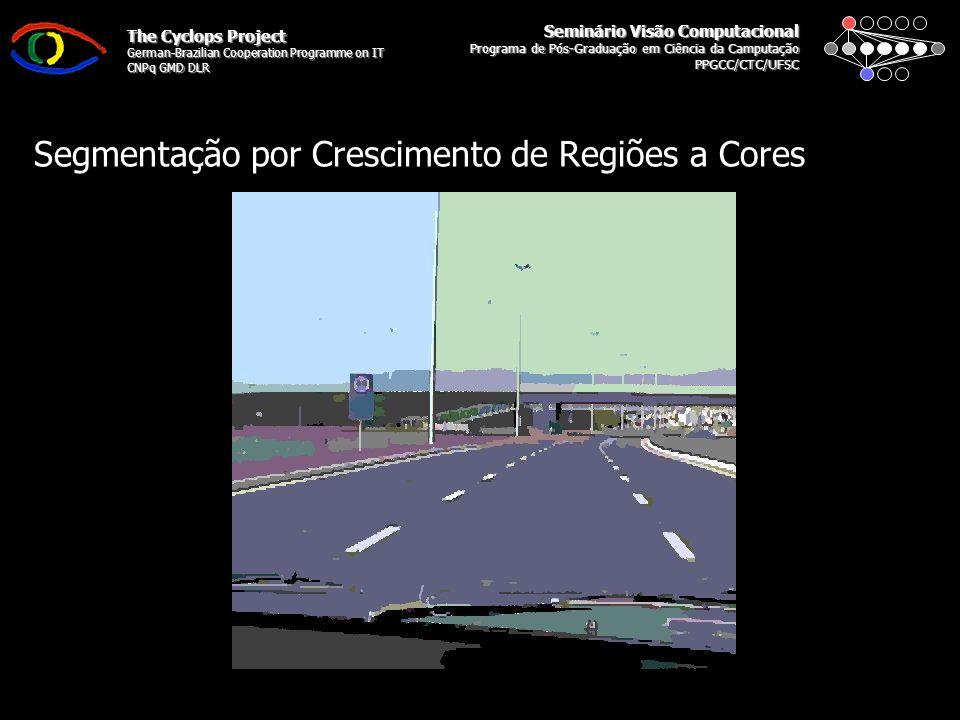 Seminário Visão Computacional Programa de Pós-Graduação em Ciência da Camputação PPGCC/CTC/UFSC The Cyclops Project German-Brazilian Cooperation Programme on IT CNPq GMD DLR Segmentação por Crescimento de Regiões
