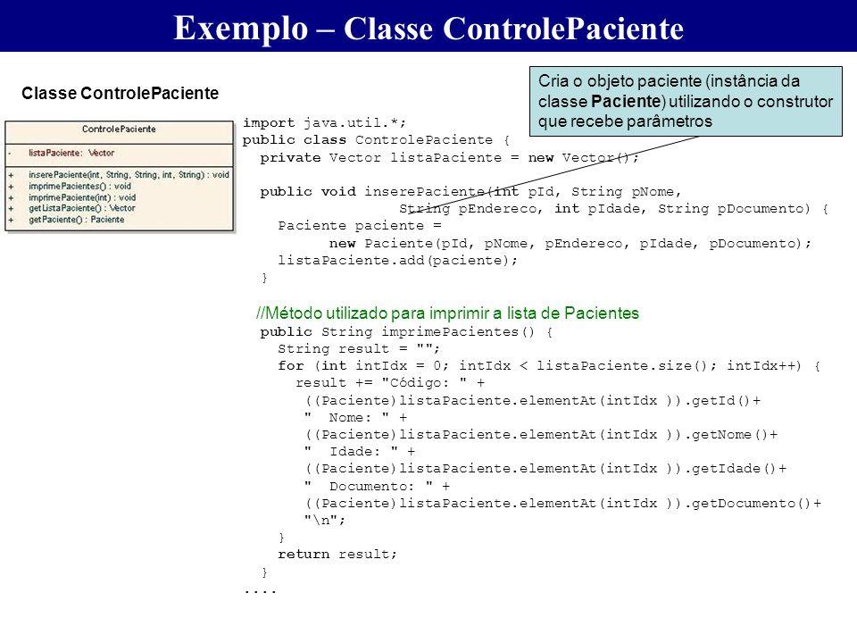 import java.util.*; public class ControlePaciente { private Vector listaPaciente = new Vector(); public void inserePaciente(int pId, String pNome, Str