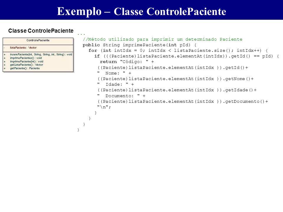 ... //Método utilizado para imprimir um determinado Paciente public String imprimePaciente(int pId) { for (int intIdx = 0; intIdx < listaPaciente.size