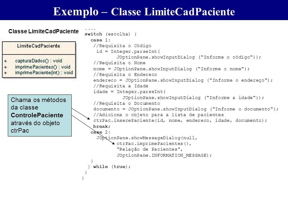 .... switch (escolha) { case 1: //Requisita o Código id = Integer.parseInt( JOptionPane.showInputDialog (