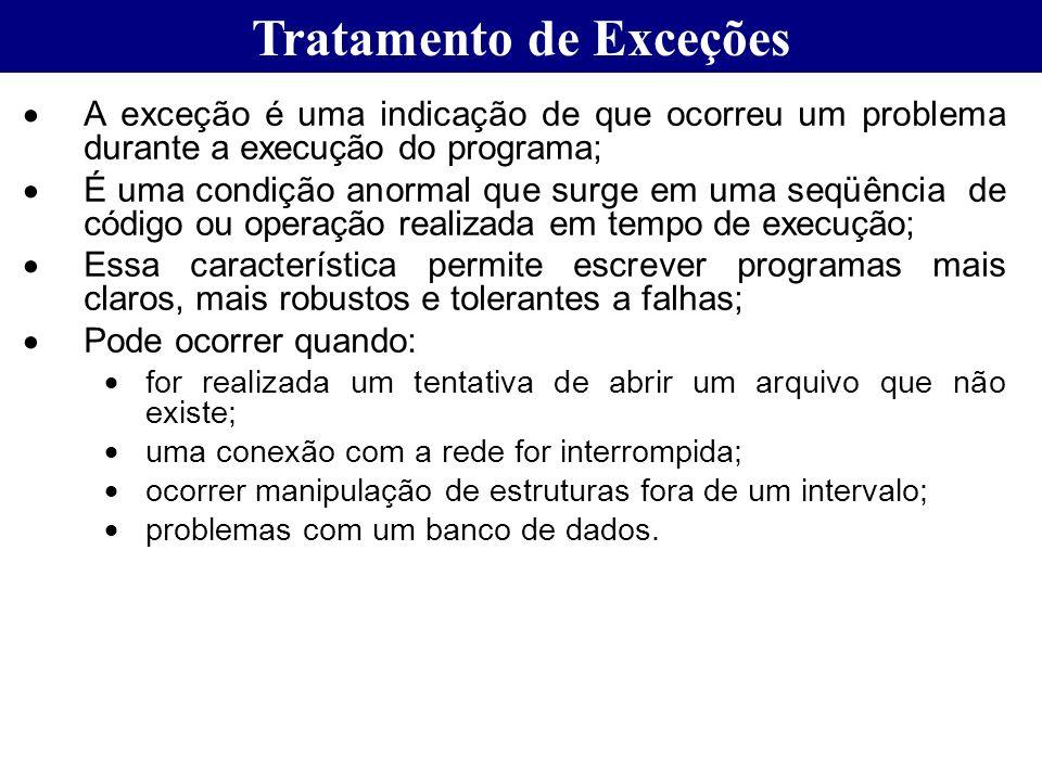 Tratamento de Exceções A exceção é uma indicação de que ocorreu um problema durante a execução do programa; É uma condição anormal que surge em uma se