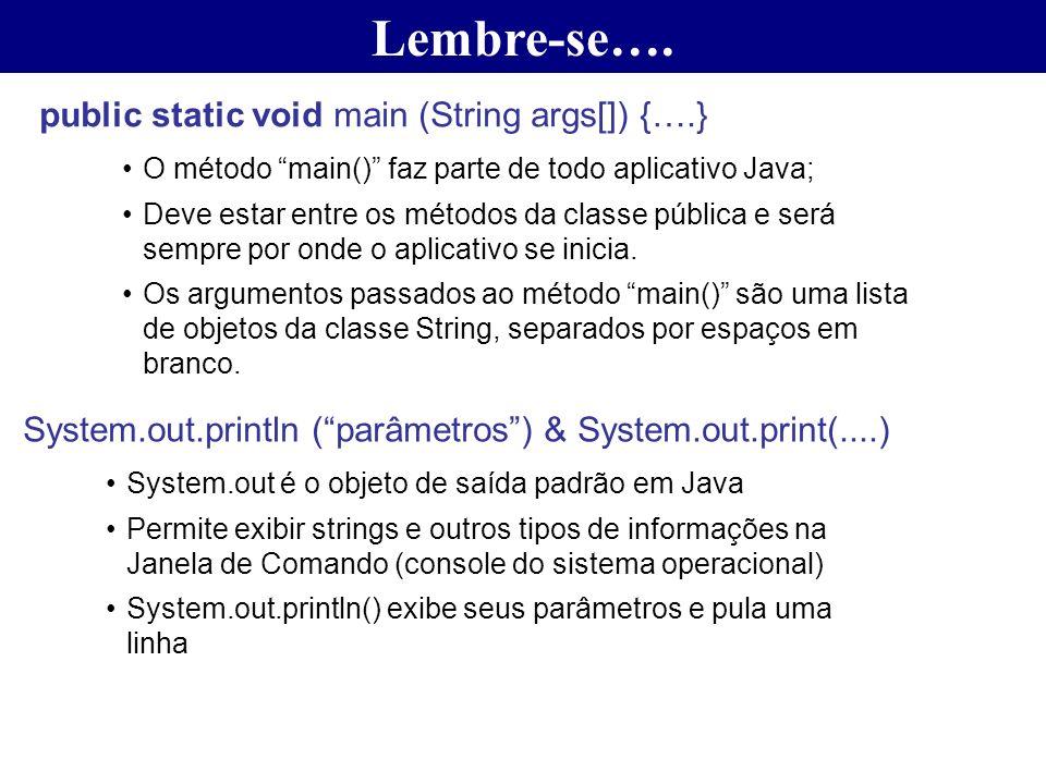 Lembre-se…. public static void main (String args[]) {….} O método main() faz parte de todo aplicativo Java; Deve estar entre os métodos da classe públ