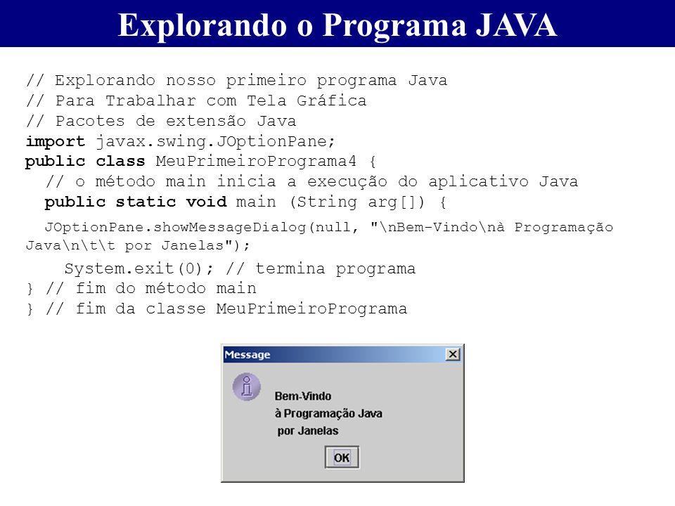 Explorando o Programa JAVA // Explorando nosso primeiro programa Java // Para Trabalhar com Tela Gráfica // Pacotes de extensão Java import javax.swin