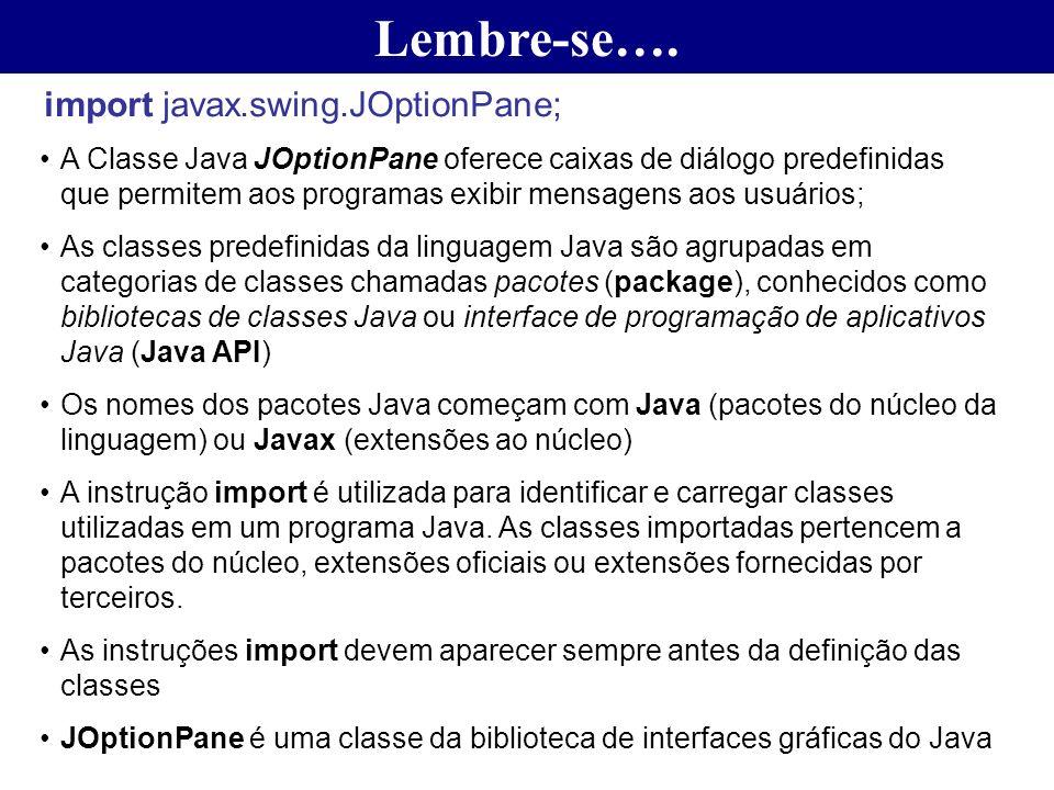 Lembre-se…. import javax.swing.JOptionPane; A Classe Java JOptionPane oferece caixas de diálogo predefinidas que permitem aos programas exibir mensage