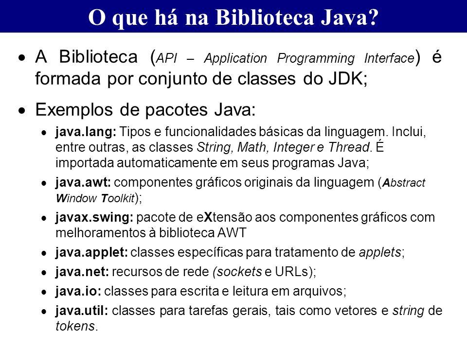 A Biblioteca ( API – Application Programming Interface ) é formada por conjunto de classes do JDK; Exemplos de pacotes Java: java.lang: Tipos e funcio